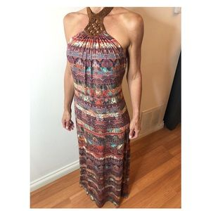 Sky Dress Maxi  with Leather woven neckline